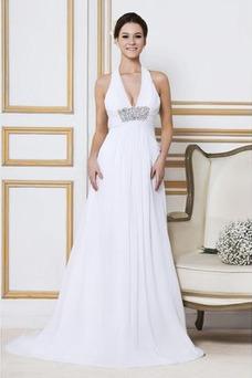 Robe de mariée Sexy Longue Grandes Tailles Col en V Sans Manches Taille Empire