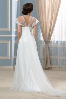 Robe de mariée Taille Empire Plage Dos nu Traîne Courte Manche Courte