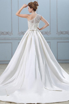 Robe de mariée Princesse Sage Satin Élastique Fourreau Superposé Épaule Asymétrique