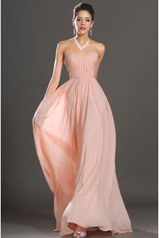 Robe de soirée Bustier Zip Perle rose Fourreau plissé Elégant Plissé