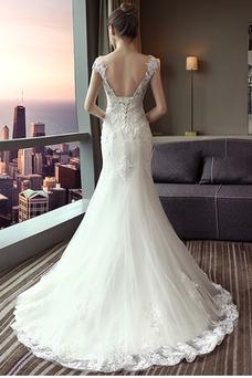 Robe de mariée Sirène Épaule Dégagée Poire Perle Satin Taille Naturel