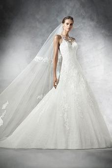 Robe de mariée Avec voile Sans Manches Taille Naturel Col ras du Cou