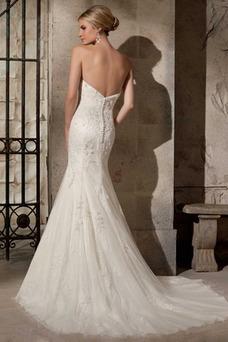 Robe de mariée Dos nu Salle Col en Cœur Sirène Longue Taille Naturel