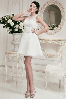 Robe de mariée Plage Tissu Dentelle Appliques A-ligne Courte Zip