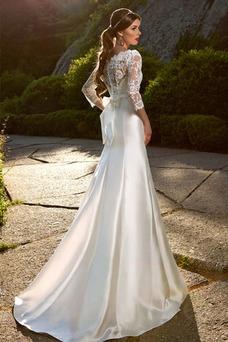 Robe de mariée Long Taille Naturel Salle Haute Couvert Manche Aérienne
