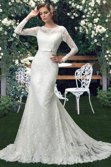Robe de mariée Tissu Dentelle De plein air Manche Aérienne Col Bateau