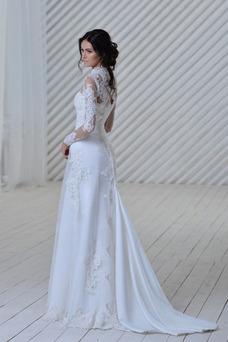Robe de mariée De plein air Col haut Été Taille Naturel Manche Aérienne