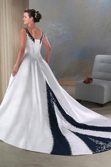 Robe de mariée Col en V Taille Naturel Satin Eglise Grandes Tailles