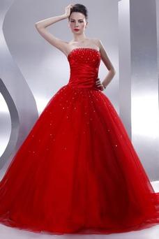 Robe de bal Bustier Rouge Satin Pailleté Longueur ras du Sol Milieu