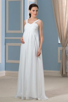 Robe de mariée Empire Zip Taille Empire Printemps Sans Manches Mousseline