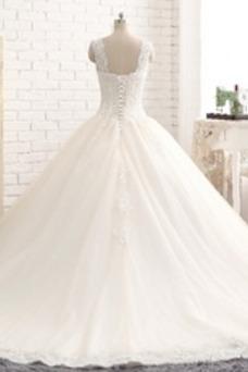 Robe de mariée Tulle Taille Naturel Couvert de Dentelle Dentelle Traîne Moyenne