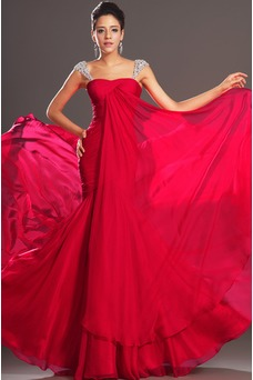 Robe de soirée Sirène Milieu Rubis Mousseline Plissé Couvert de Tulle