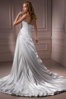 Robe de mariée Ivoire Fourreau plissé Automne Milieu Longueur ras du Sol