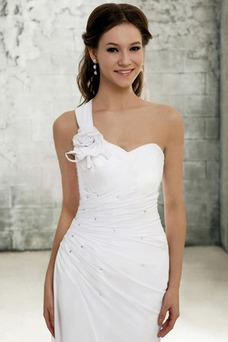 Robe de mariée Fourreau Traîne Courte Simple Bretelle Unilatérale de Fleuro