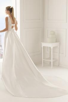 Robe de mariée Taille Naturel Automne Cristal Longue Milieu Col Bateau