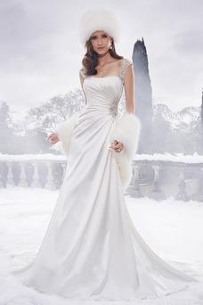Robe de mariée Appliques Manche Courte Taille Naturel Elégant Satin