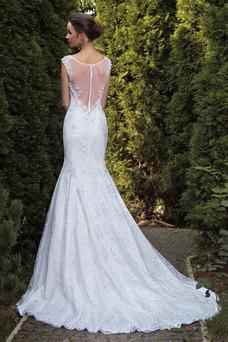 Robe de mariée Sirène Haute Couvert Mancheron Traîne Mi-longue Appliques