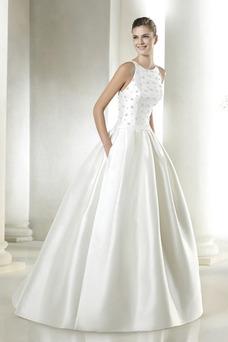 Robe de mariée Poches Col ras du Cou Satin Avec voile Printemps Traîne Mi-longue