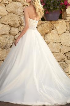 Robe de mariée Taille Naturel Sans Manches Traîne Courte Col en Cœur