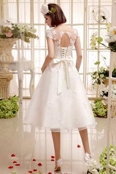 Robe de mariée De plein air Été Taille Naturel Manche Courte Manche Aérienne