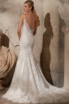 Robe de mariée Dos nu Sans Manches Printemps Dentelle Taille Naturel
