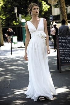 Robe de mariée Gris clair Bretelle Unilatérale de Fleuro Taille Empire