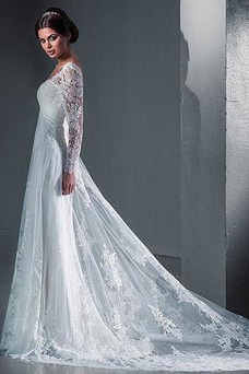 Robe de mariée Taille Naturel Lacet Couvert de Dentelle De plein air