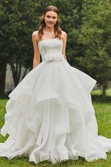 Robe de mariée Plage Balançoire Bustier Printemps Sexy Taille Naturel