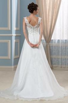 Robe de mariée Dos nu Taille Naturel Sans Manches Organza Col en V