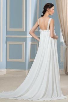 Robe de mariée Col en V Mousseline Traîne Moyenne Fourreau plissé