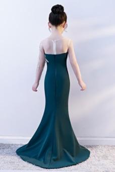 Robe cérémonie fille Zip Fourreau Avec Bijoux Taille Naturel Perle Manche Longue