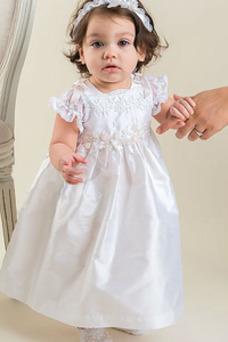 Robe cérémonie fille Col ras du Cou Appliques Printemps Haute Couvert Longueur Cheville