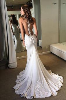Robe de mariée Traîne Courte Col ras du Cou Sans Manches Couvert de Dentelle
