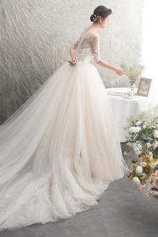 Robe de mariée Tulle 3/4 Manche Fourreau Avec Bijoux Au Drapée Couvert de Dentelle