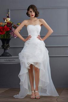 Robe de mariée Asymétrique Plage Asymétrique Lacet Taille chute Col en Cœur