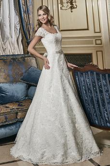Robe de mariée Mancheron A-ligne Cristal Classe Lacet Eglise