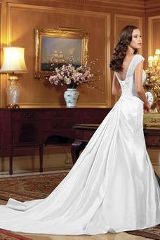 Robe de mariée Sirène Lacet Traîne Mi-longue Taille Naturel Col en Cœur