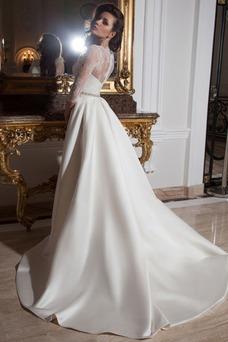 Robe de mariée Tissu Dentelle Sirène Classe Perle Haut Bas 3/4 Manche