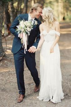 Robe de mariée Plage Manche Courte Fourreau Taille Naturel Longue