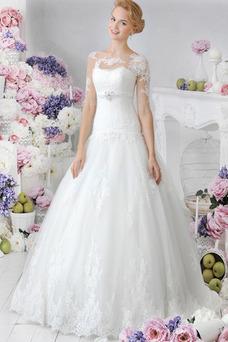 Robe de mariée Col Bateau Tissu Dentelle Eglise Manche Aérienne Princesse