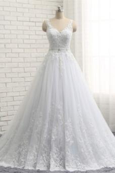 Robe de mariée Dos nu Haut Bas Printemps Satin Perle Taille Naturel
