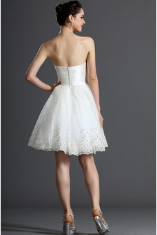Robe de mariée Informel Zip Sans Manches Courte Été Blanche