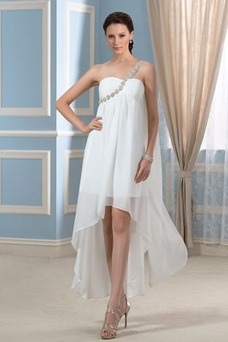 Robe de mariée Asymétrique Perle Mousseline Asymétrique Été De plein air