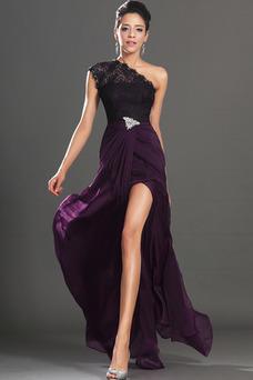 Robe de bal Violette africaine Traîne Courte Fourreau Mousseline
