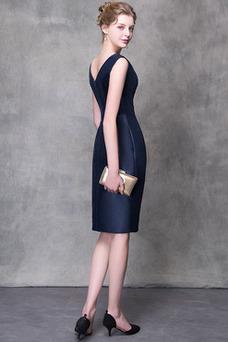 Robe de soirée Zip Haut Bas Perle Glamour Col en V Fourreau plissé