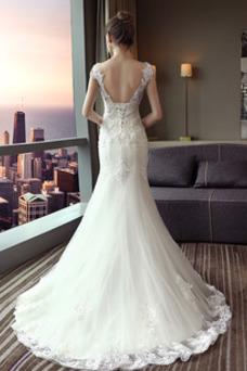 Robe de mariée Sirène Longue Au Drapée Épaule Dégagée Printemps Couvert de Dentelle