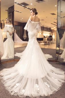 Robe de mariée Hiver Longue Appliques Manche Lâche Dos nu Épaule Dégagée