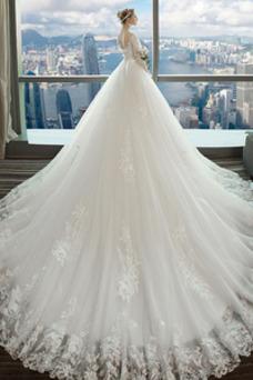 Robe de mariée Taille Naturel Traîne Longue Luxe Dos nu Couvert de Dentelle