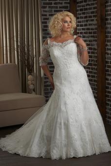 Robe de mariée Col en Cœur Taille Naturel Tissu Dentelle Haute Couvert