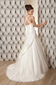 Robe de mariée Automne Licou Zip Formelle Taille Naturel A-ligne